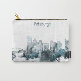 Pittsburgh Monochrome Blue Skyline Carry-All Pouch