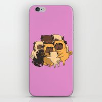 pugs iPhone & iPod Skins featuring Pugs Group Hug by Huebucket