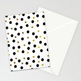 Black & Gold Glitter Confetti on white background- Elegant pattern Stationery Cards