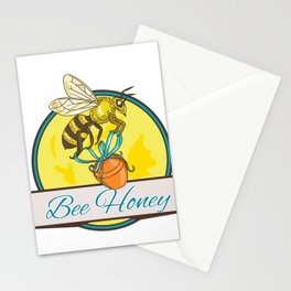 Bee Carrying Honey Pot Circle Drawing Stationery Cards