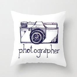 Photographer vintage camera Throw Pillow