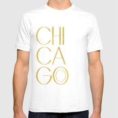 Chicago Print,City Print,Home Decor,Wall artwork,Chicago Poster,Typography Print,Gold Typography,Art Mens Fitted Tee White MEDIUM