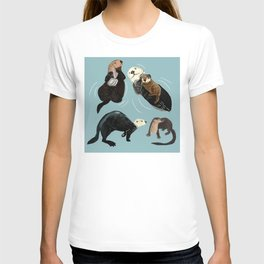 Otters of the World pattern in grey T-shirt
