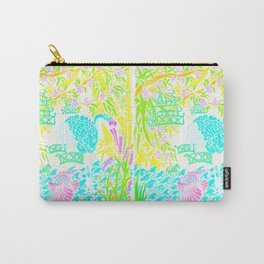 Asian Bamboo Garden in Pink Lemonade Watercolor Carry-All Pouch