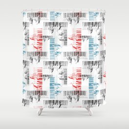 A piano pattern in black/red/blue Shower Curtain