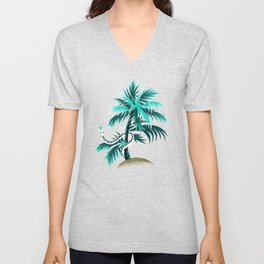 Snake Palms - Light Teal Mustard Unisex V-Neck