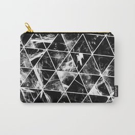 Geometric Whispers - Abstract, black and white triangular, geometric pattern Carry-All Pouch