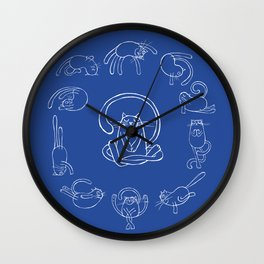 Yoga cats Wall Clock