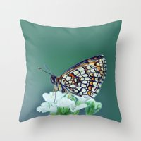 sofa Throw Pillows featuring flower sofa by LindaMarieAnson