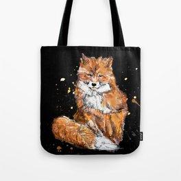 Fox in black Tote Bag