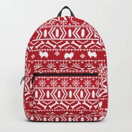 Japanese Spitz fair isle dog breed silhouette pet art pattern christmas ugly sweater Backpack