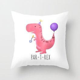 Par-T-Rex - Pink Dinosaur Birthday Throw Pillow