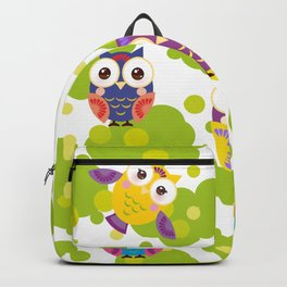 bright colorful owls and green leaves on white background Backpack