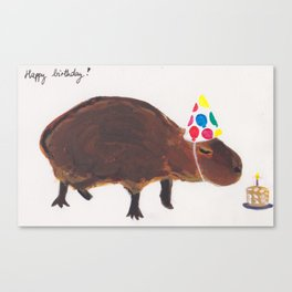 Birthday capybara Canvas Print