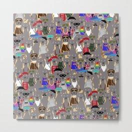 Big Dog Weim Nation Grey Ghost Weimaraner Hand-painted Pet Pattern on Khaki Metal Print