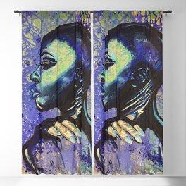 Feeling Blue:Acrylic painting,woman,girl,female,pretty,beautiful,black,art,nails,lips,bald,original, Blackout Curtain