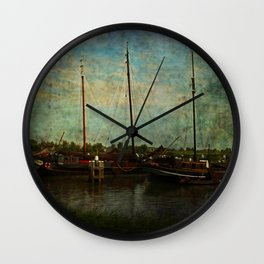 Historical Harbor Woudrichem The Netherlands Wall Clock