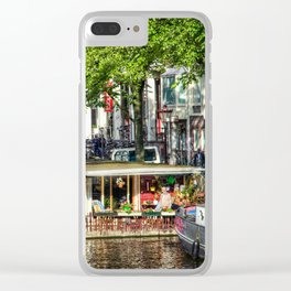 Amsterdam Houseboat on Canal Clear iPhone Case