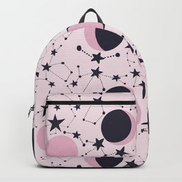 Moon and Stars in pink and blue Backpack