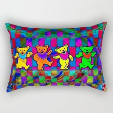 Grateful Dead Dancing Bears Colorful Psychedelic Characters #1 Rectangular Pillow