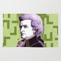 mozart Area & Throw Rugs featuring Wolfgang Amadeus Mozart by Joseph Walrave