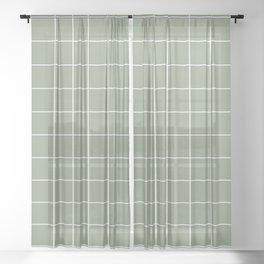 Grid Pattern Sage White 8DA086 Stripe Line Minimal Stripes Lines Spring Summer Sheer Curtain