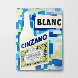 1958 Vintage Cinzano Blanc Beverage Villemot Advertisement Poster Metal Print