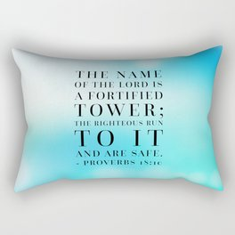 Proverbs 18:10 Bible Quote Rectangular Pillow