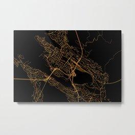 Bergen map, Norway Metal Print