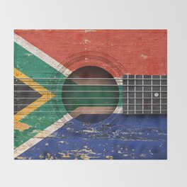 Old Vintage Acoustic Guitar with South African Flag Throw Blanket