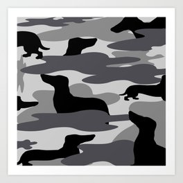 Grey Camo Weiner Dogg Art Print