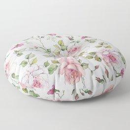 Shabby vintage blush pink white floral Floor Pillow