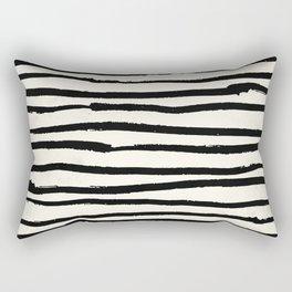 Tribal Stripes Black Earth on Ivory Cream Rectangular Pillow