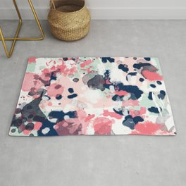 Lola - Painted abstract trendy color palette minimal decor nursery home Rug