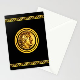 Greek Key and Coin - Black Stationery Cards