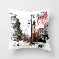 poland Throw Pillows featuring Poland - Krawkowskie Przedmiescie, Warsaw by viva la revolucion