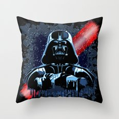 Darth Vader Mask on Dark Paint Stains Throw Pillow
