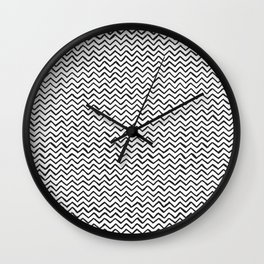 Black and white Hand-drawn ZigZag Pattern Wall Clock