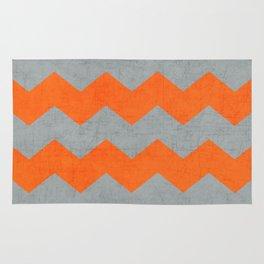 chevron- gray and orange Rug