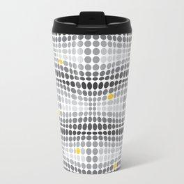 Dottywave - Grey and yellow wave dots pattern Travel Mug
