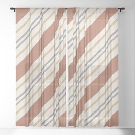 Cavern Clay SW 7701 and Accent Colors Thick and Thin Angled Lines Triple Stripes 1 Sheer Curtain