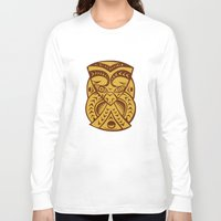 maori Long Sleeve T-shirts featuring Maori Mask Woodcut by patrimonio