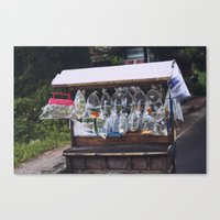 Goldfish man going home from work Canvas Print
