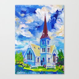 White Church - St. Andrew's In Cambridge, New Zealand Canvas Print