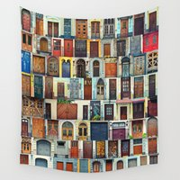 doors Wall Tapestries featuring Collage of Kiev front doors,Ukraine by natalia.maroz