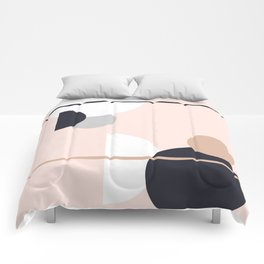Shapes and Minimalist Design Pattern | Peach | Navy | Grey | White Comforters