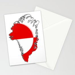 Greenland Map with Flag Stationery Cards