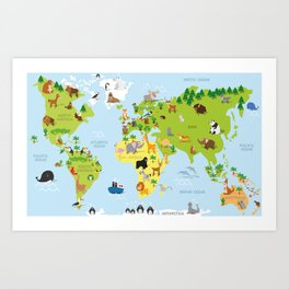 Funny cartoon world map with traditional animals of all the continents and oceans Art Print