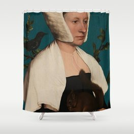 PORTRAIT OF A LADY WITH A SQUIRREL AND A STARLING - HANS HOLBEIN Shower Curtain