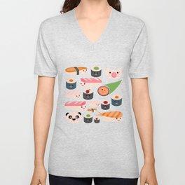 Kawaii sushi blue Unisex V-Neck